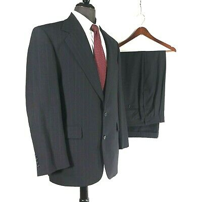 Hertling Nordstrom mens black wool striped suit pleated cuffed 40R to 42R.....