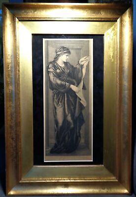 "Original Etching 1882 Edward Burne Jones ""Cumaean Sibyl"" Framed Pre-Raphaelites"