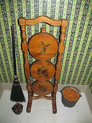 Thomasville Muffin Stand Hand Decorated Stenciled Fruit Pine Wood Early American