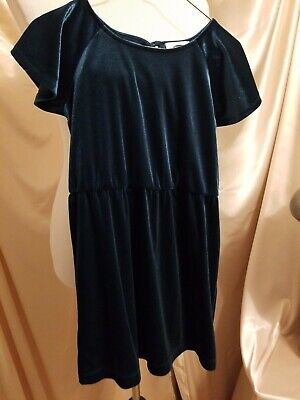 Old Navy Velour Polyester Spandex Girls Green Holiday Christmas Dress Size Small