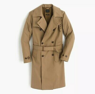 J. Crew $298 Ludlow Double-Breasted Water-Repellent Trench Coat L Raw Khaki Tan
