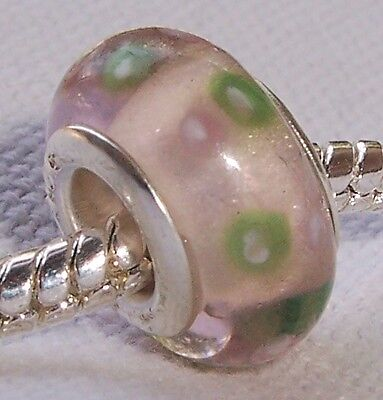 Pale Pink Green Mauve Murano Glass Bead for Silver European Style Charm Bracelet