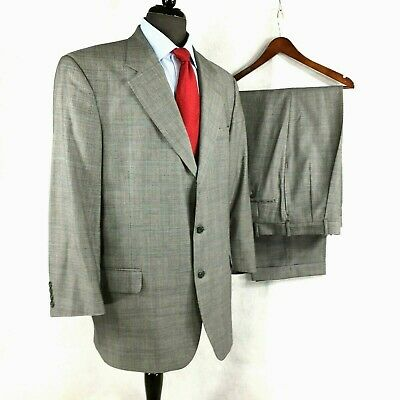 Tom James Hand Tailored mens gray Glen Check wool suit pleated cuffed pants 42L