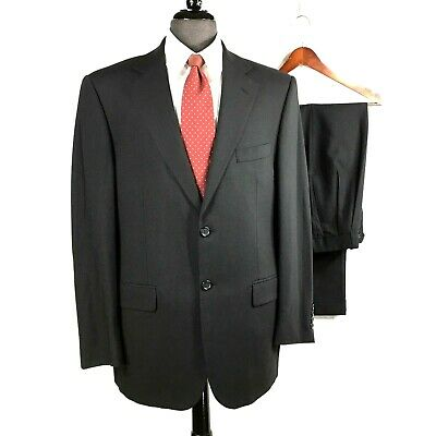 Pronto Uomo Comfort Stretch mens black wool suit w pleated cuffed pants 40R