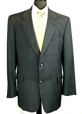 Hart Schaffner Marx mens gray micro check wool suit pleated cuffed 42L to 44L