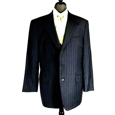 Joseph Abboud Classic Mens Navy Blue Pin Stripes Wool Blazer Jacket  43R