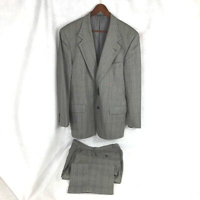 Joseph Abboud mens black white Glen Plaid wool suit pleated cuffed pants 40R