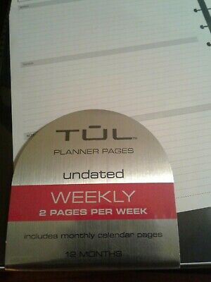 TUL custom note-taking system planner pages undated weekly 2 pages per week