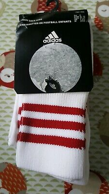adidas football sock team child size 13 / 2 new red white