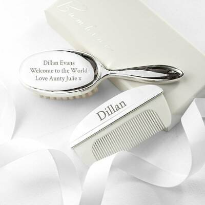 Personalised Silver Plated Baby Brush And Comb Set Baby's First Christmas Gift
