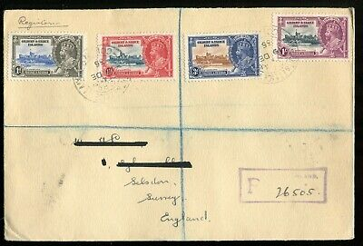 Gilbert & Ellice Islands KGV 1935 Silver Jubilee SG36/9 used on registered cover