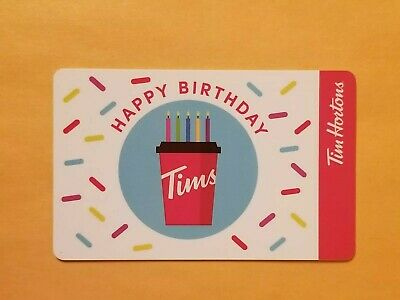 2019 Tim Hortons Happy Birthday Cup With Candles Empty Gift Card Reloadable Rare