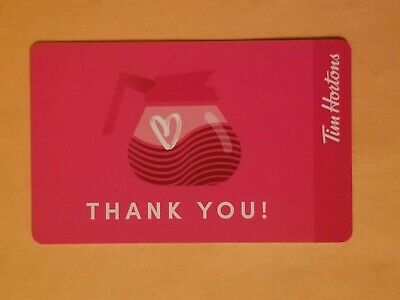 2019 Tim Hortons 'Thank You' Heart Coffee Pot Empty Gift Card Reloadable