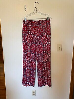 Perfect Womens Style & Co Red Print Pull On Wide Leg Pants Wow M