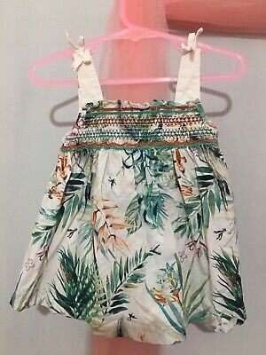 Lovely Baby Girls Next Cream Tropical Leaf Print Summer Top 12-18🌿🌿