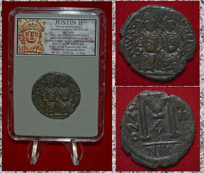 Ancient BYZANTINE EMPIRE Coin Of JUSTIN II Sophia And Justin II On Thrones