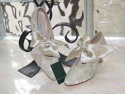 Laura Ashley Vintage Baroque Medieval Flax Brocade Tapestry Shoes,Eu38/39 Uk5/6