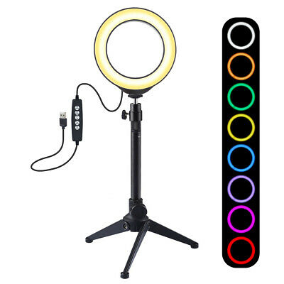 RGB LED Ring Light Studio Photo Video Dimmable Lamp Tripod Camera Selfie Phone