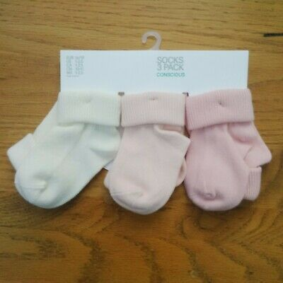 0-6 Months Baby Girl Frilly Ankle Socks x3 Pairs by Primark Baby in Pink /& White