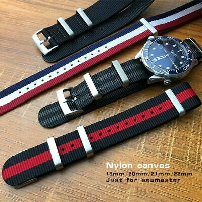 Watch Canvas Nylon Strap 19 20 21 22mm Stainless Steel Pin Buckle Sport Bands