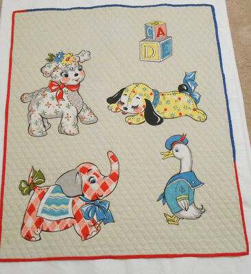 Vintage Baby ANIMAL Quilted Blanket Elephant Lamb Puppy Duck Building Blocks
