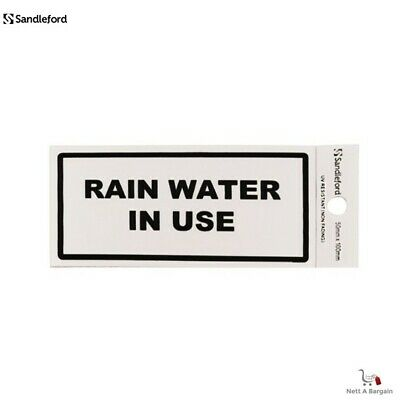 1 x Sandleford 'RAIN WATER IN USE' Silver Sign Self Adhesive - 50 x 100mm