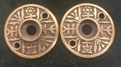 Pair Antique Brass Door Knob Backplates Escutcheons Floral pattern (#7a)