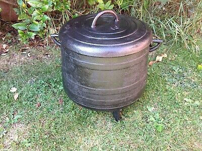 Large French Cast Iron Cauldron / Cooking Pot With Lid / Garden Planter