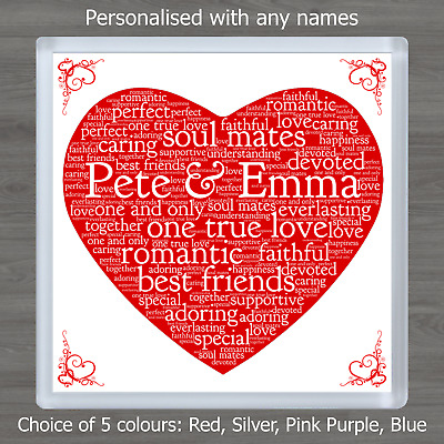 Valentines Day Personalised Gift Word Art Heart Coaster Romantic For Him or Her