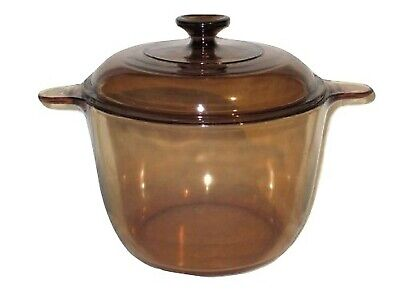 Corning Ware Visions Visionware Amber Glass Dutch Oven/ Stock Pot - 3.5 L