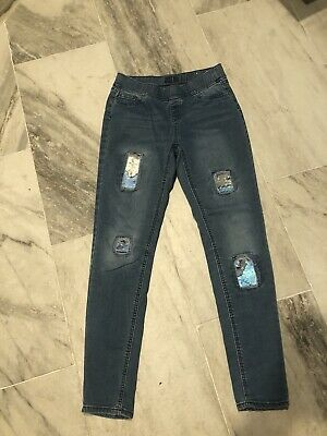 Justice Girls  Sequin Pull On Jean Leggings Mid Rise Soft & Stretchy size 16