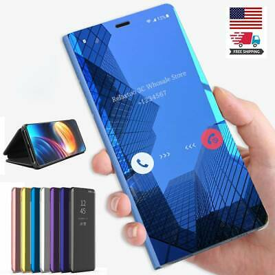 Smart View Mirror Leather Flip Stand Case Cover For Samsung Galaxy S7 S8 S9 S10+