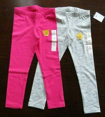 NEW Girl's Leggings Size XS (4-5) Lot of 2 Cat & Jack Gray Meliered and Fuchsia