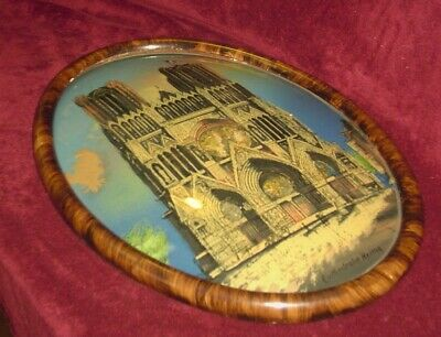 Vintage Oval Tiger Stripe Picture Frame Convex Glass Foil Cathedral 22x16