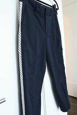 Joie Women's Cropped Navy Blue Dress Pants with side stripe | Size 4