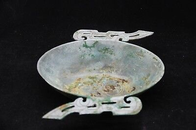 Chinese bronze ear cup ritual vessel dragon veins dynasty vessels ear cups