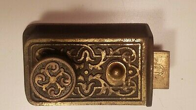 Antique Ornate Yale Cast Iron Bronze Plated Door Lock For Restoration