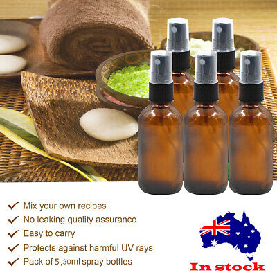 5pcs 30ml Amber Glass Essential Oil Spray Bottles Mist Sprayer Containers Tool +
