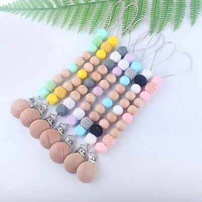1X Baby Beaded Pacifier Holder Clip Nipple Teether Dummy Chain Soother Holder En