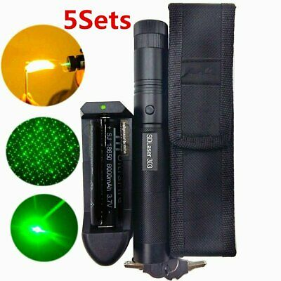1/2/5sets Green Laser Pointer Pen 18650 532nm Astronomy Lazer Beam Light 50Mile#
