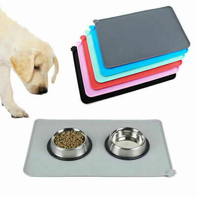 Pet Puppy Silicone Feeding Food Mat Dog Cat Non Slip Bowl Waterproof Placemat UK