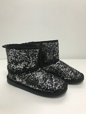 Girls/ladies Size 4 Bluezoo Black Ankle Sequin Boots Winter Non Slip