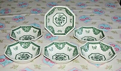 J&G Meakin, Royal Staffordshire Set 6 Old Pekin Green Soup Cereal Dessert Bowls.