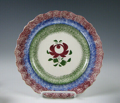 Antique Three Color Spatter Spatterware Plate with Red Rose 19th Century