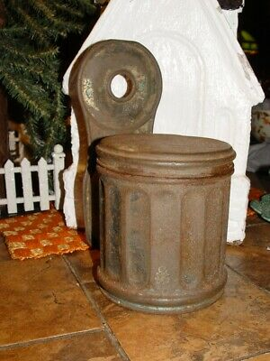 Rustic Antique Toleware Match / Salt Box, Tin Tinware Trash Can Wall Hanging