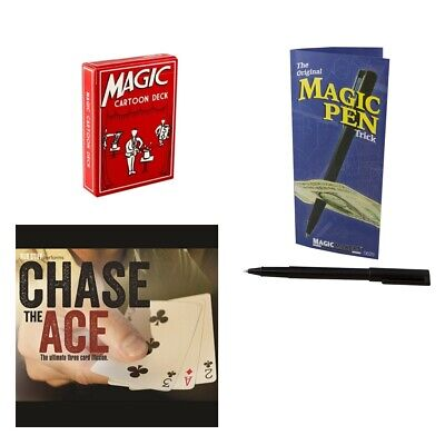 Magic Makers Ultimate Pocket Kit Cartoon Deck, Penetration Pen, Chase the Ace