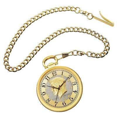 August Steiner CN012YG Kennedy Half Dollar Coin Dial Goldtone Mens Pocket Watch