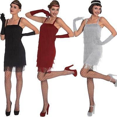 Adults Ladies Flapper Fancy Dress Costume 20s 30s Charleston Great Gatsby Jazz