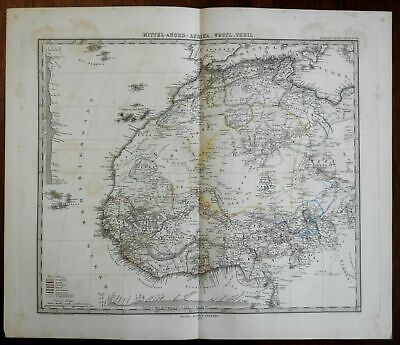 Western North Africa Morocco Guinea Ivory Coast 1875 Stieler detailed map
