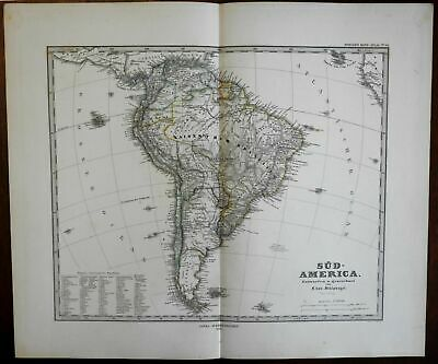 South America entire continent 1875 interesting Stieler map